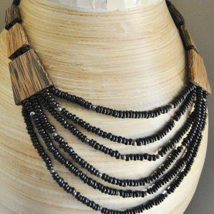 Jewelry - Six strand wooden bead statement necklace